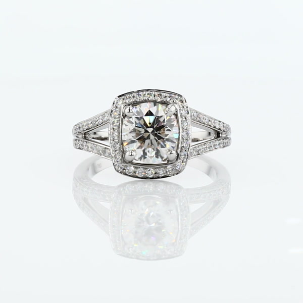 1.37 Carat Monique Lhuillier Split Shank Halo Diamond Engagement Ring