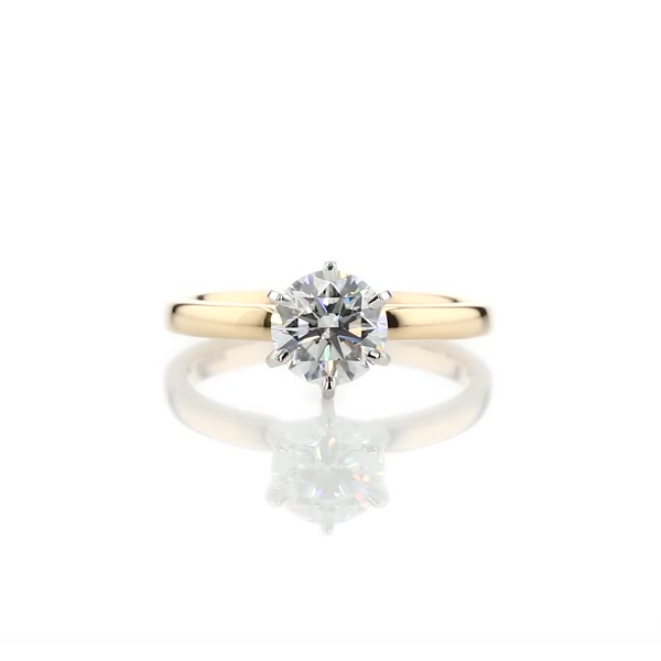 0.96 Carat Six -Claw Low Dome Comfort Fit Solitaire Engagement Ring
