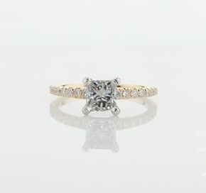 French Pavé Diamond Engagement Ring in 14k Yellow Gold