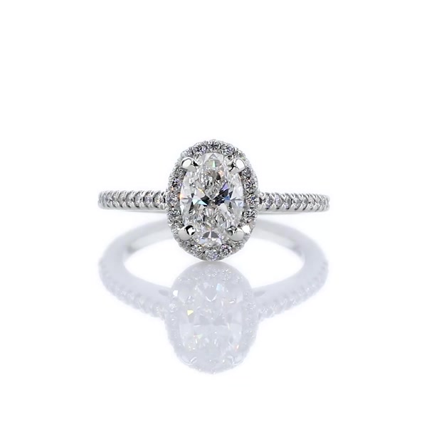 1.01 Carat Oval Halo Diamond Engagement Ring