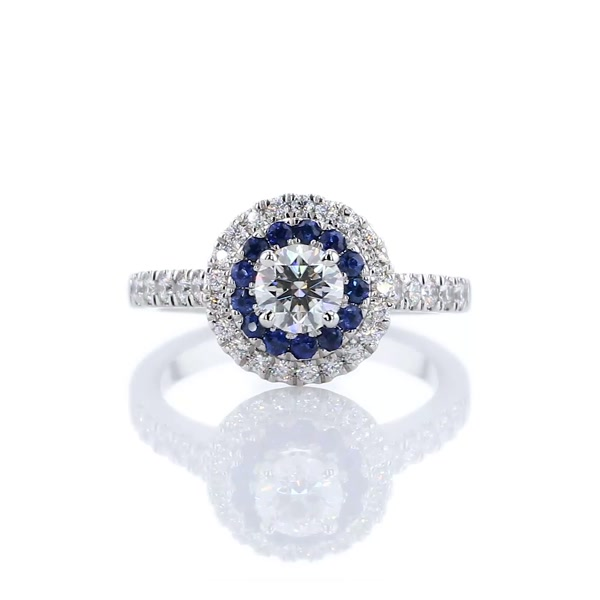 0,6 Carat Sapphire and Diamond Double Halo Engagement Ring