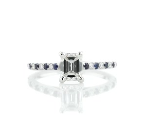 Micropavé Sapphire and Diamond Petite Cathedral Engagement Ring in Platinum (0.10 ct. tw.)
