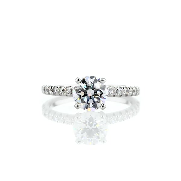 1.26 Carat French Pavé Diamond Engagement Ring