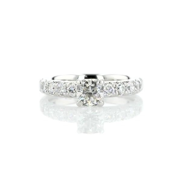 0.85 Carat Riviera Pavé Diamond Engagement Ring