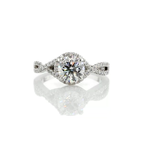 1.25 Carat Twisted Halo Diamond Engagement Ring