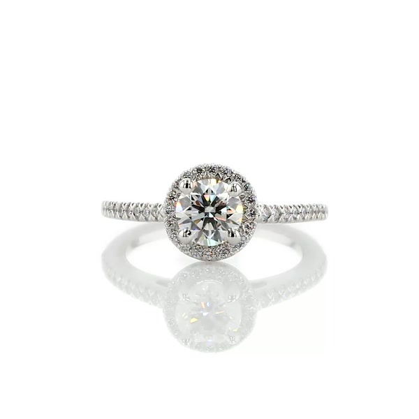 0.86 Carat Classic Halo Diamond Engagement Ring