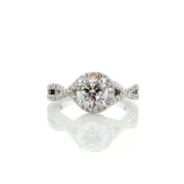 0.96 Carat Twisted Halo Diamond Engagement Ring
