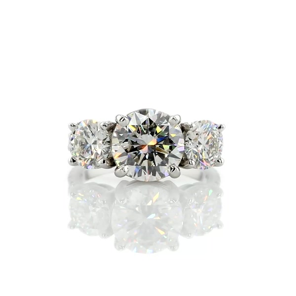 3.01 Carat Three-Stone Pavé Diamond Engagement Ring