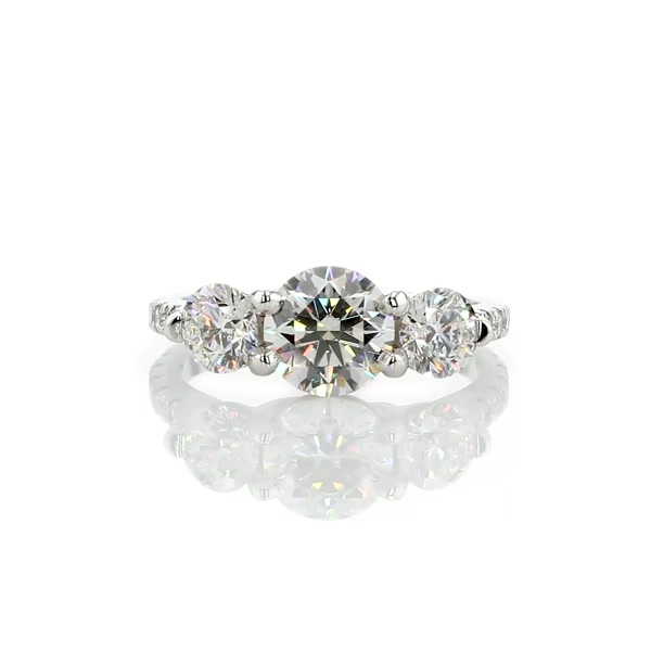 1.61 Carat Three-Stone Petite Pave Trellis Diamond Engagement Ring
