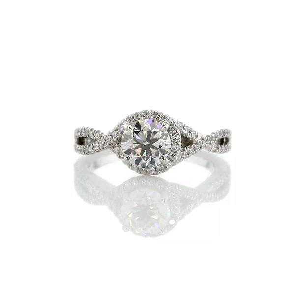 1.01 Carat Twisted Halo Diamond Engagement Ring