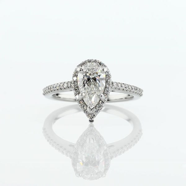 1.04 Carat Pear Shaped Halo Diamond Engagement Ring