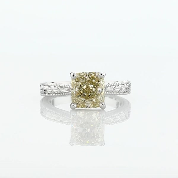 2.12 Carat Hand-Engraved Solitaire Engagement Ring