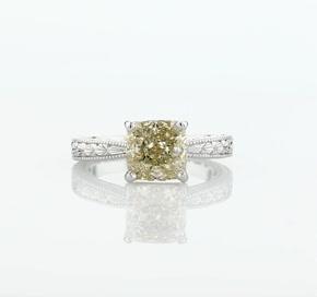 14k 白金手工雕刻单石订婚戒指