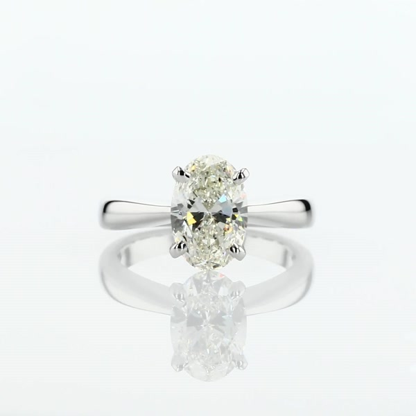 1.9 Carat Classic Tapered Four Claw Solitaire Engagement Ring