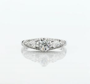 ZAC Zac Posen Vintage Three-Stone Diamond Engagement Ring in 14k White Gold (1/2 ct. tw.)