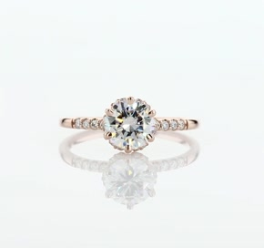 Petite Micropavé and Hidden Diamond Halo Engagement Ring in 14k Rose Gold (1/8 ct. tw.)