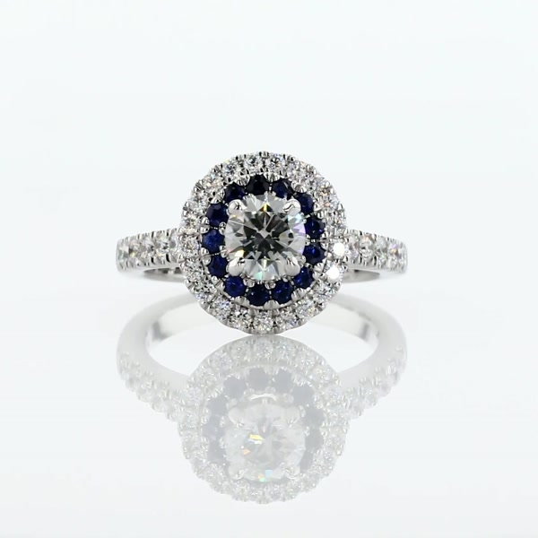 0.6 Carat Sapphire and Diamond Double Halo Engagement Ring
