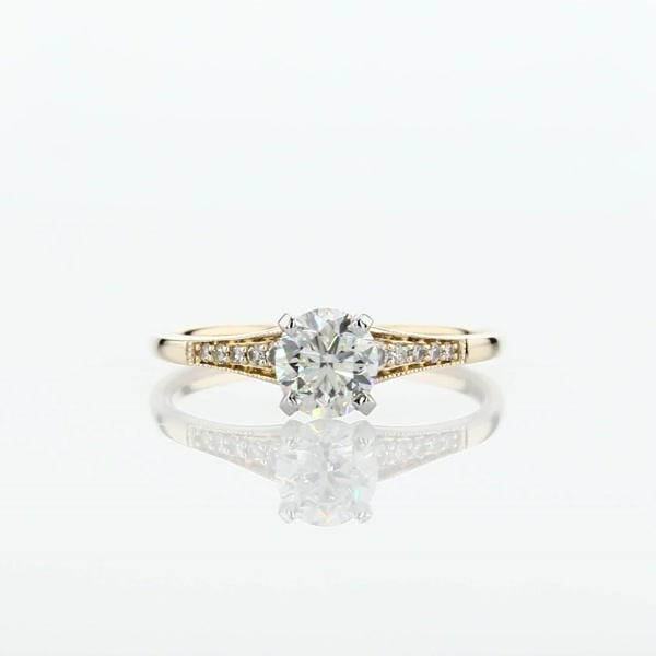 0.8 Carat Graduated Milgrain Diamond Engagement Ring