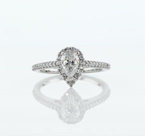Pear Shaped Halo Diamond Engagement Ring in Platinum (0.23 ct. tw.)