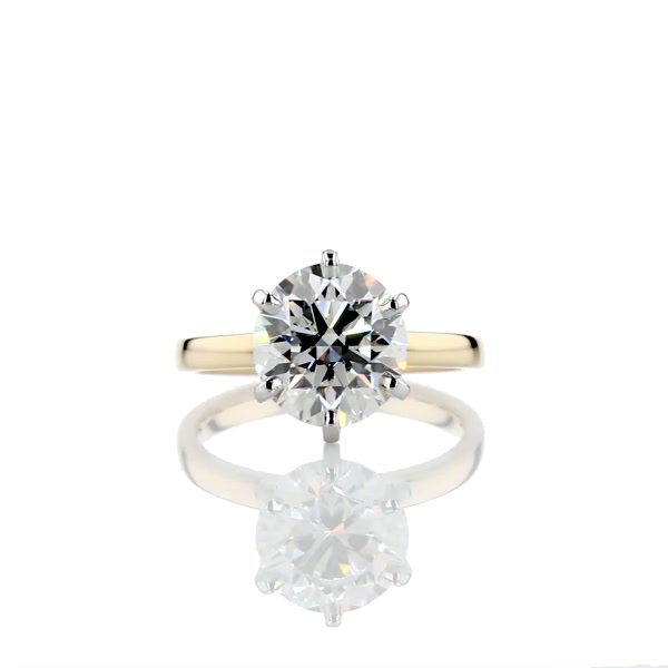3.01 Carat Six -Claw Low Dome Comfort Fit Solitaire Engagement Ring