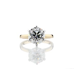 Six -Claw Low Dome Comfort Fit Solitaire Engagement Ring in 18k Yellow Gold (2mm)