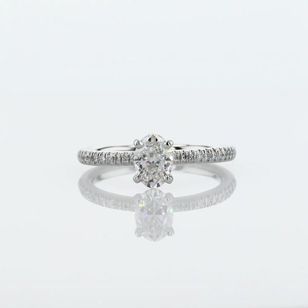 0,5 Carat Petite Micropavé Diamond Engagement Ring