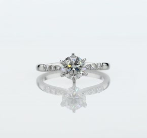 Six-Prong Petite Diamond Engagement Ring in Platinum (1/10 ct. tw.)