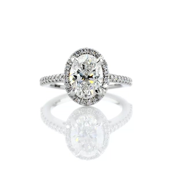 1,71 Carat Oval Halo Diamond Engagement Ring