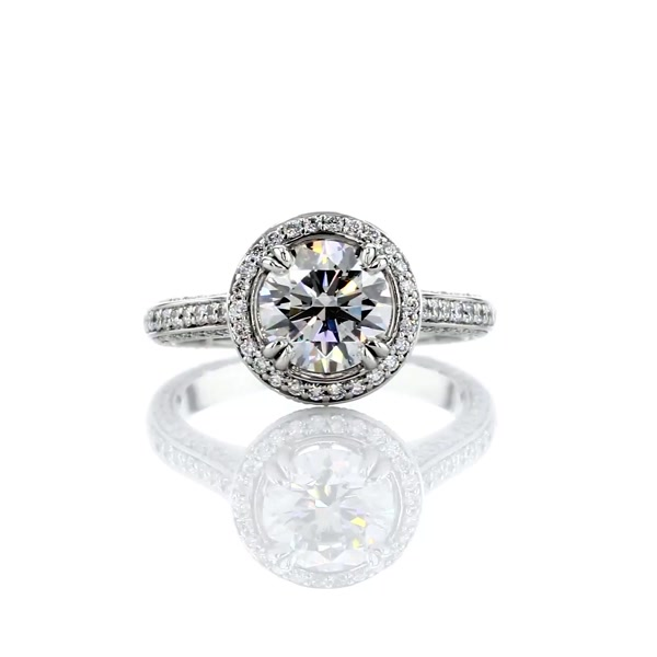1.31 Carat Heirloom Halo Micropavé Diamond Engagement Ring