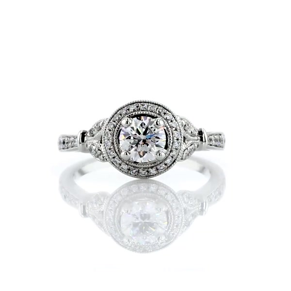 0.7 Carat Monique Lhuillier Vintage Floral Halo Diamond Engagement Ring