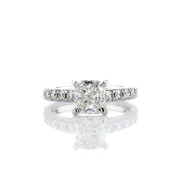 1.41 Carat Riviera Cathedral Pavé Diamond Engagement Ring