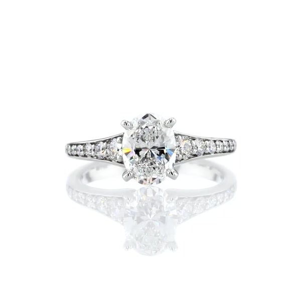 1.32 Carat Graduated Pavé Diamond Engagement Ring