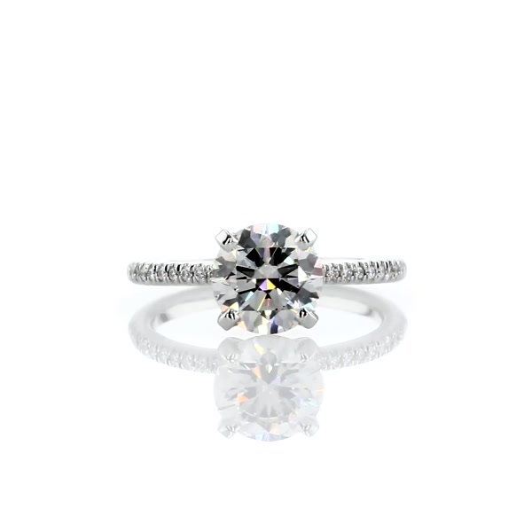 1,37 Carat Petite Micropavé Diamond Engagement Ring