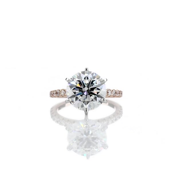 3.55 Carat French Pavé Diamond Engagement Ring