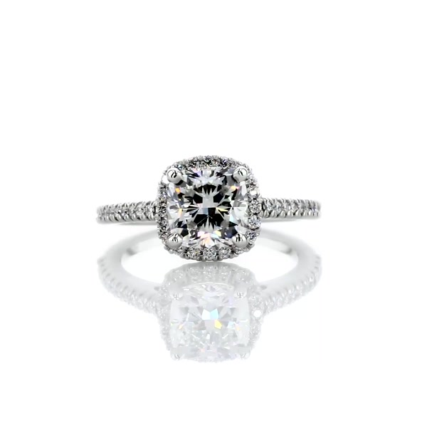 1.51 Carat Cushion Cut Halo Diamond Engagement Ring