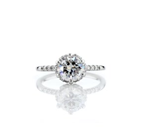 Petite Micropavé and Hidden Diamond Halo Engagement Ring in Platinum (0.12 ct. tw.)