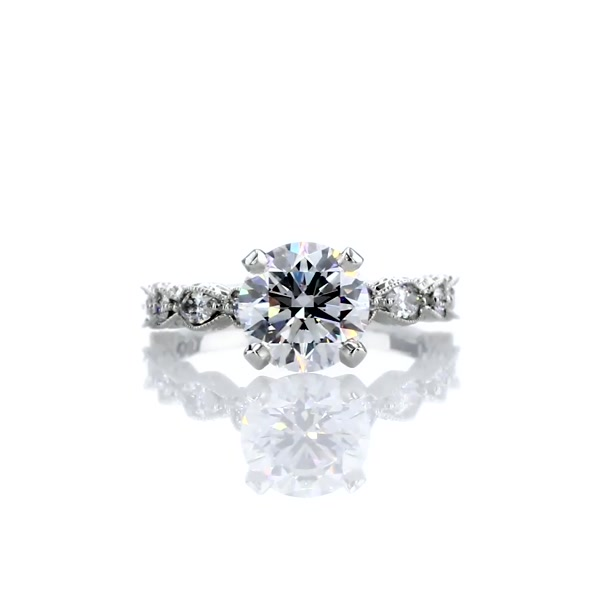 1,7 Carat Monique Lhuillier Round and Marquise Engraved Diamond Engagement Ring