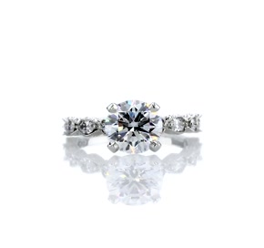 Monique Lhuillier Round and Marquise Engraved Diamond Engagement Ring in Platinum