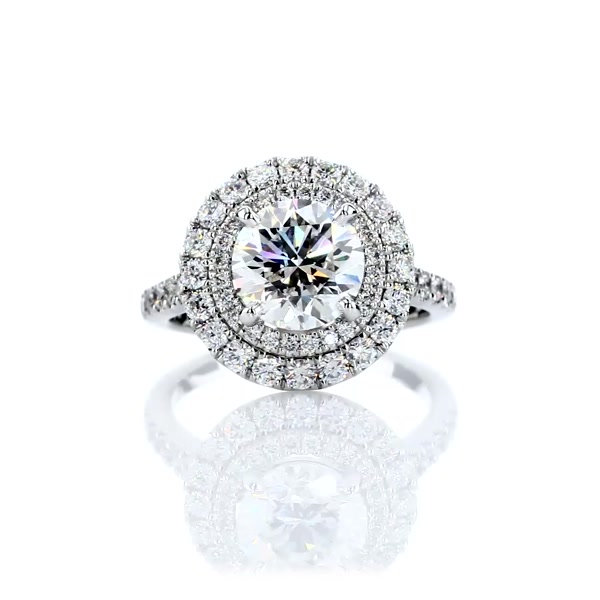 2.12 Carat Double Halo Diamond Engagement Ring