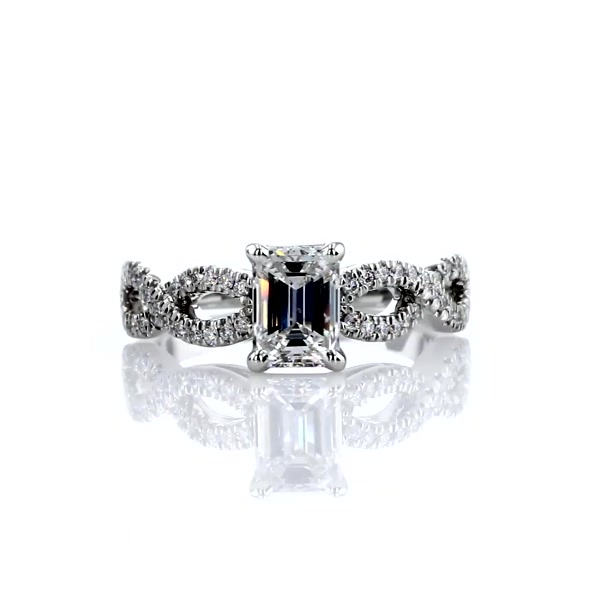 1,01 Carat Infinity Twist Micropavé Diamond Engagement Ring