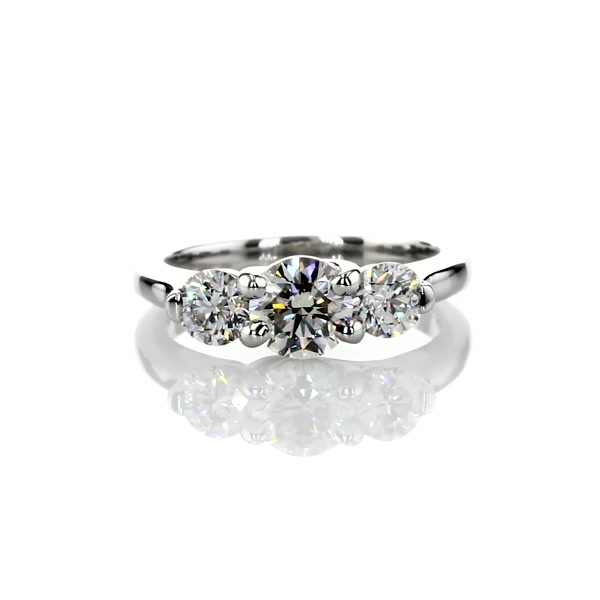 0.7 Carat Three-Stone Petite Trellis Diamond Engagement Ring