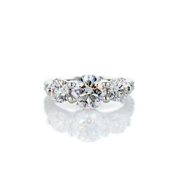 1.5 Carat Three-Stone Petite Pave Trellis Diamond Engagement Ring