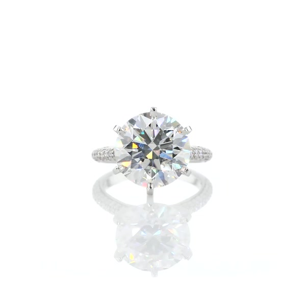 5,2 Carat Trio Micropavé Engagement Ring