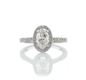 14k 白金橢圓形鑽石橋飾光環鑽石訂婚戒指(1/3 克拉總重量)