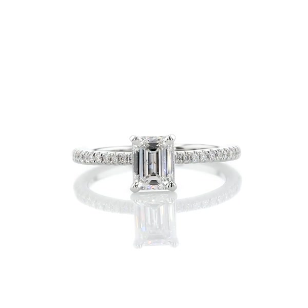 0.8 Carat Petite Micropavé Diamond Engagement Ring