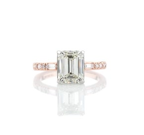 Dot Dash Diamond Engagement Ring in 14k Rose Gold (1/5 ct. tw.)