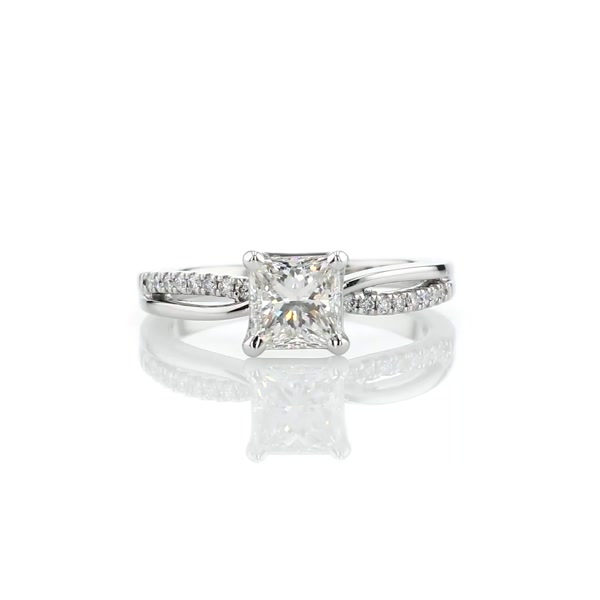 1.22 Carat Split Shank Pavé and Plain Shank Diamond Engagement Ring