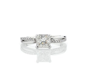 Split Shank Pavé and Plain Shank Diamond Engagement Ring in 14k White Gold (1/10 ct. tw.)