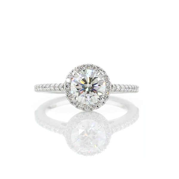 1 Carat Classic Halo Diamond Engagement Ring