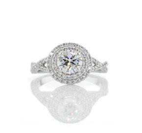 铂金 Monique Lhuillier 双光环钻石扭纹造型订婚戒指(3/8 克拉总重量)